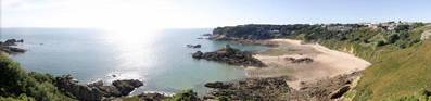 The view across Beauport Bay in Jersey